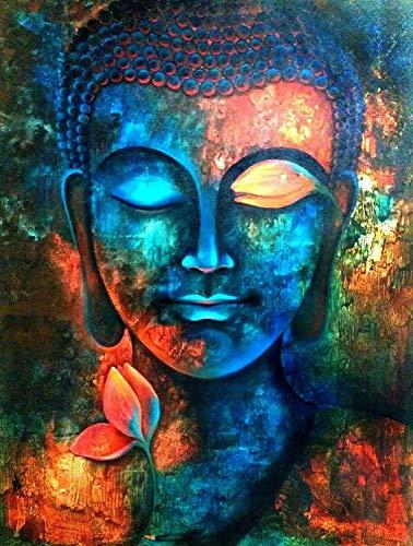 WZZPSD Peinture par Numéro Bouddha Avatar avec des Fleurs DIY Unique Moderne Cadeau Home Decor Style