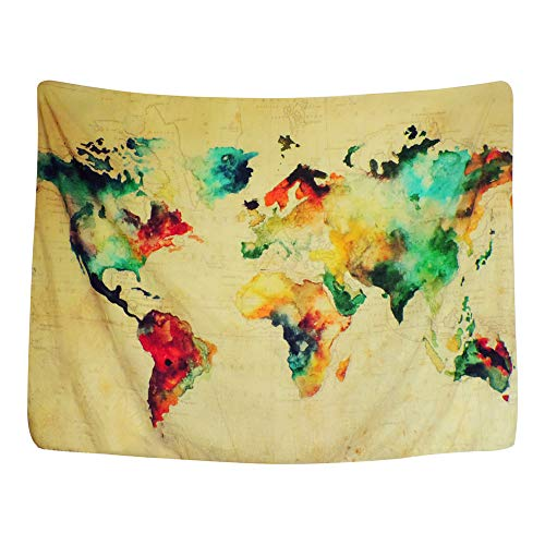 RIsxffp Mapa del Mundo Arte de la Pared Tapiz Colgante Sala de Estar Dormitorio Decoración del hogar Toalla de Playa Multicolor 150 * 130cm