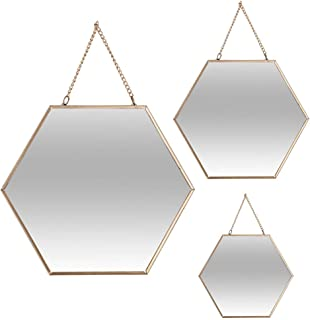 Atmosphera Miroir hexagone - Lot de 3 - Jaune