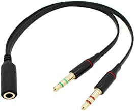 Caxico 3.5mm Female to 2 Male Gold Plated Headphone Mic Audio Y Splitter Flat Cable