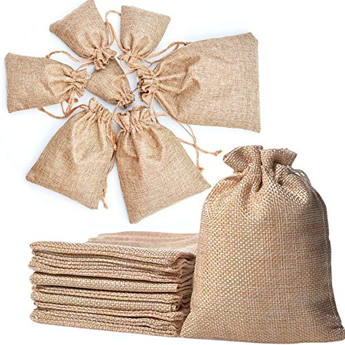 Kojoon Bolsas para Joyas de Lino con cordón 50pc Boda Arpillera Arpillera Yute Bolsa de joyería Favor Bolsas de Regalo 10 * 14cm