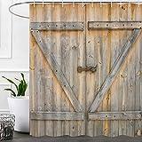 Cortinas de ducha rústicas para decoración de puerta de granero para baño, estilo rústico de madera estilo rústico, juego de cortinas de ducha, accesorios de baño, decoración de granja, ganchos...