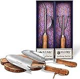 EZARC Gartenwerkzeug Set, 4-teiliges Gartengeräte Set, aus rostfrei Edelstahl mit Holzgriff, Geschenkpaket inkl.