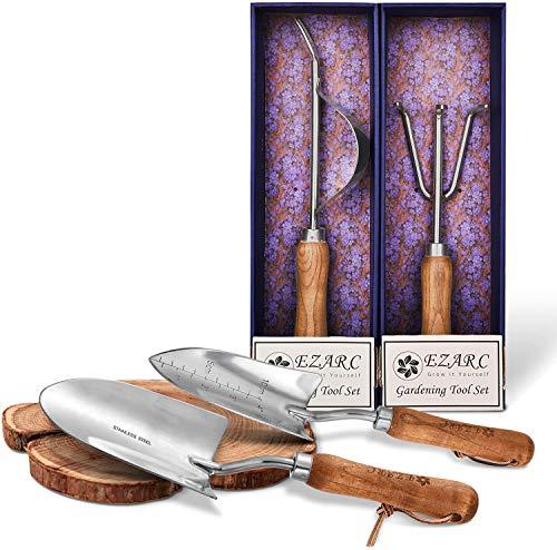 EZARC Gartenwerkzeug Set, 4-teiliges Gartengeräte aus rostfrei Edelstahl mit Holzgriff, Geschenkpaket inkl.