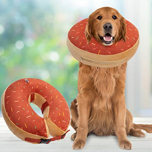 BINGPET Dog Inflatable Recovery Collar - Soft Pet Surgery Collar for Dogs & Cats, Comfortable Protective E Collar Prevent from Licking, Biting Wound, Cute Donut Design