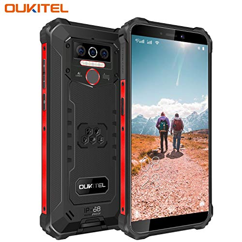 OUKITEL WP5 (2020) アウトドア スマートフォン SIMフリー スマホ本体 Android 10 IP68 防水 防塵 耐衝撃 SIMフリースマートフォン本体 4GB RAM + 32GB ROM 8000mAh 5.5インチ 指紋認識 顔認証 携帯電話 デュアルSIM(Nano) 13MP SONY リアデュアルカメラ LEDライト 防災用品 1年間保証付き(ブラック)