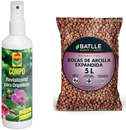 Compo Revitalizante para Todas Las orquídeas, Bote pulverizador, 250 ml, 20.5x5x5 cm, 1402002011 + Semillas Batlle Sustratos Sustrato Bolas Arcilla Expandida 5l