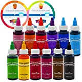 12 Food Color Chefmaster by US Cake Supply 2.3-Ounce Liqua-Gel Cake Food Coloring Variety Pack with Color Mixing Wheel - Made in the U.S.A.