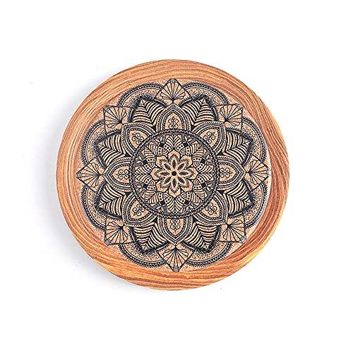 Manteles individuales,Platillo de pintura con tinta de flores, posavasos de cerámica, aislamiento térmico de madera de imitación, almohadilla de aislamiento de corcho, 8 piezas, decoración 3