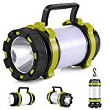 lasesasies Camping Lantern USB Rechargeable LED Camping Light Dimmable IP68 Waterproof Multi-Function Camping Flashlight Portable Hanging Magnetic Power Bank (Green)
