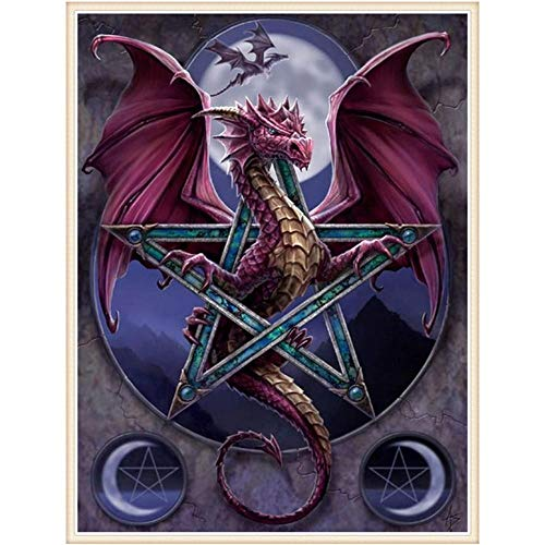 DIY 5D Diamond Painting Kits Full Drill Arts Craft Canvas Supply for Home Wall Decor Adults and Kids Square Diamond Dragon Totem 12inx24in