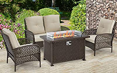 U-MAX Outdoor Furniture Set,Patio PE Rattan Wicker Sofa Sectional Furniture Set with Cushion (Brown(4PCS with Firepit Table))