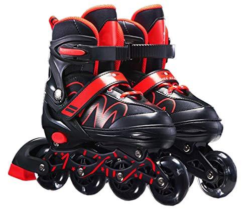 XIUWOUG Herren Damen verstellbare Inliner Inlineskates,Größe 26-42 Unisex Fitness Skates für Erwachsene Rädern Rollschuhe für Jungen Mädchen Anfänger,Rot,M (33~37)