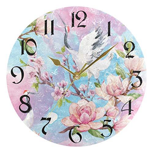 ART VVIES Reloj de Pared Redondo de 10 Pulgadas, sin tictac, silencioso, Dorado, con Pilas, para Oficina, Cocina, Dormitorio, decoración del hogar, grúa de Cabeza roja, Flores de Cerezo, pájaros