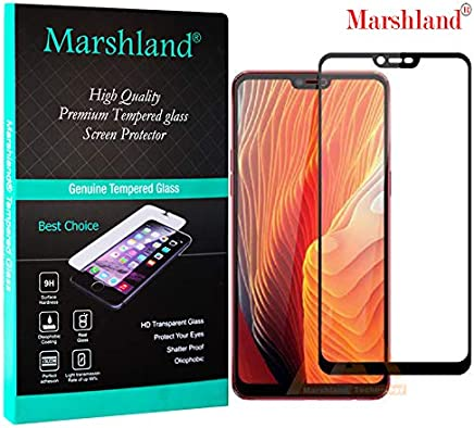 Marshland 6D Full Glue Screen Protector Anti Scratch Crystal Clear Bubble Free Smooth Tempered Glass Compatible for Oppo Realme 2 (Black)