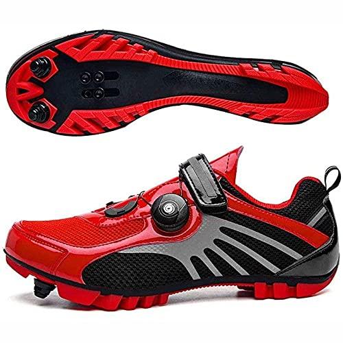 HYQW MTB SPD Ciclismo Zapatos para Hombres Zapatos De Mujer Zapatos De Bicicleta Carretera Montaña Zapatos De Montaña Spin Shoestring Zapatos De Bicicleta VIIPOO,Red-36EU