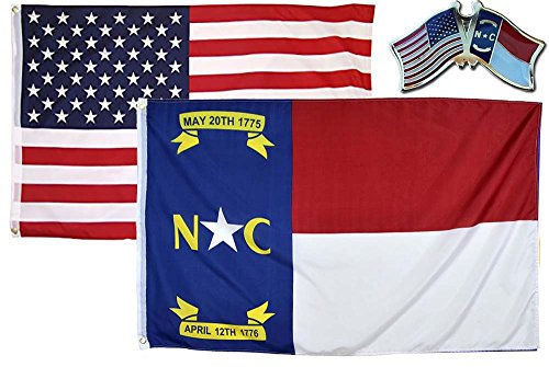 AES Wholesale Combo USA & State of North Carolina 2x3 2'x3' Flag & Lapel Pin Fade Resistant Double Stitched Premium Penant House Banner Grommets