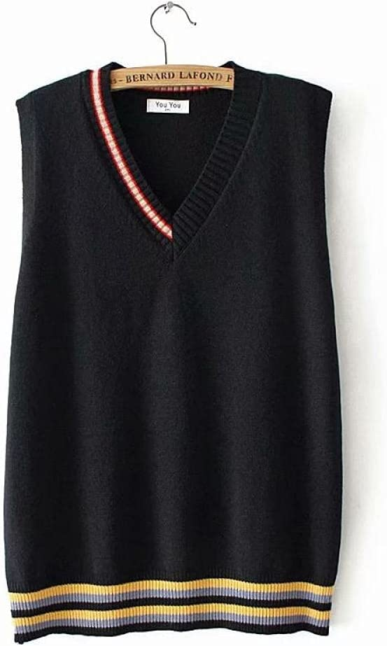 Sweater Vest Women,Women Knitted Gilets Sweaters Fashion Stitching Stripes V Neck Plus Size Long Casual Loose Cami Sleeveless Jumper Waistcoat Sweater Tank Top Winter Autumn ,Black,4XL