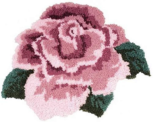 DIY Latch Hook Kits Forme de Fleur Broderie au Point de Croix pour Tapis de Sol en Peluche, De Broderie DIY Tapis Faire La Décoration Intérieure,Rose,52 * 42cm/20x16 inch