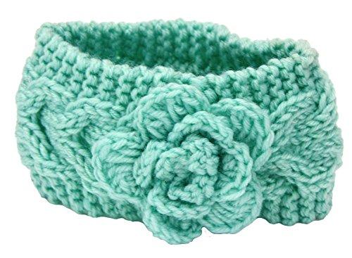Tininna Bandeau tricoté pour cheveux, chaud, pour hiver, motif floral, tricot torsadé, accessoires pour cheveux, coiffe, bandeau, serre-tête, turban pour enfant vert