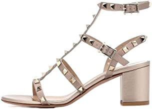 MAVIRS Sandals for Women, Rivets Studded Strappy Block Heels Slingback Gladiator Shoes Cut Out Dress Sandals