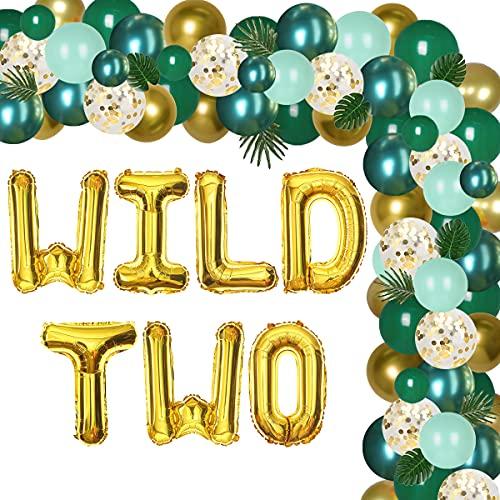 Decoración de 2º cumpleaños para niño, dos decoraciones de fiesta de cumpleaños salvajes, kit de guirnalda de globos de safari de la selva verde y dorado con dos globos de hoja salvaje hojas de palma