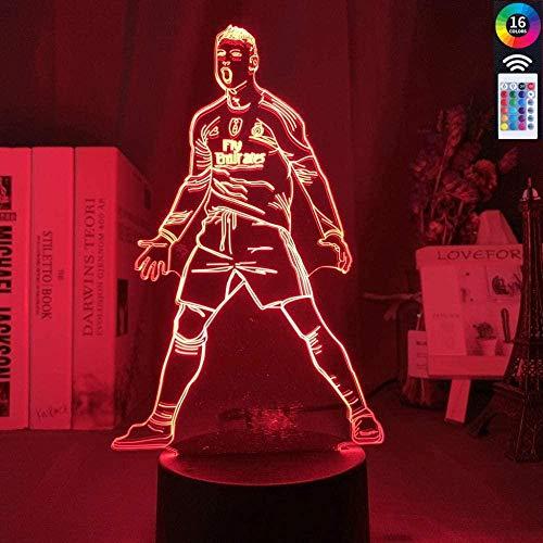ADIS Lampe Illusion 3D LED veilleuse Cristiano Ronaldo Figure pour la décoration intérieure capteur Tactile Couleur Changeante Cadeau pour Enfants Enfant Lampe