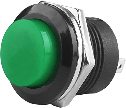 high quality Larcele Push Button outlet sale Switch 2 Pin Momentary Round Button Switch, Mounting Hole 16mm,10 outlet sale Pieces ANKG-08(Green) online sale