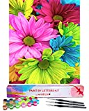 Paint by Letters by Artsy Etta - DIY Paint by Numbers for Adults Beginner - Adults' Paint-by-Number Kits - Adult Paint by Number Kits on Canvas - Acrylic Paint by Numbers for Adults Flowers Painting
