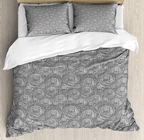 Ensemble de housse de couette abstraite, cercles en spirale géométriques dessinés à la main, forme ronde, anneau forme contemporaine, DEnsemble de literie écologique avec deux taies d'oreiller, gris a