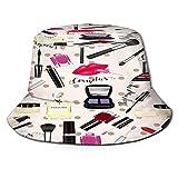 PUIO Sombrero de Pesca,Maquillaje Perfume Cosméticos Patrones Sin Fisuras,Senderismo para Hombres y Mujeres al Aire Libre Sombrero de Cubo Sombrero para el Sol