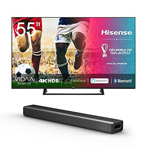 Hisense 55AE7200F 139 cm (55 Zoll) Fernseher + HS214 2.1 Soundbar Home Theater System/ 80W/ integrierter Subwoofer/Bluetooth/Schwarz