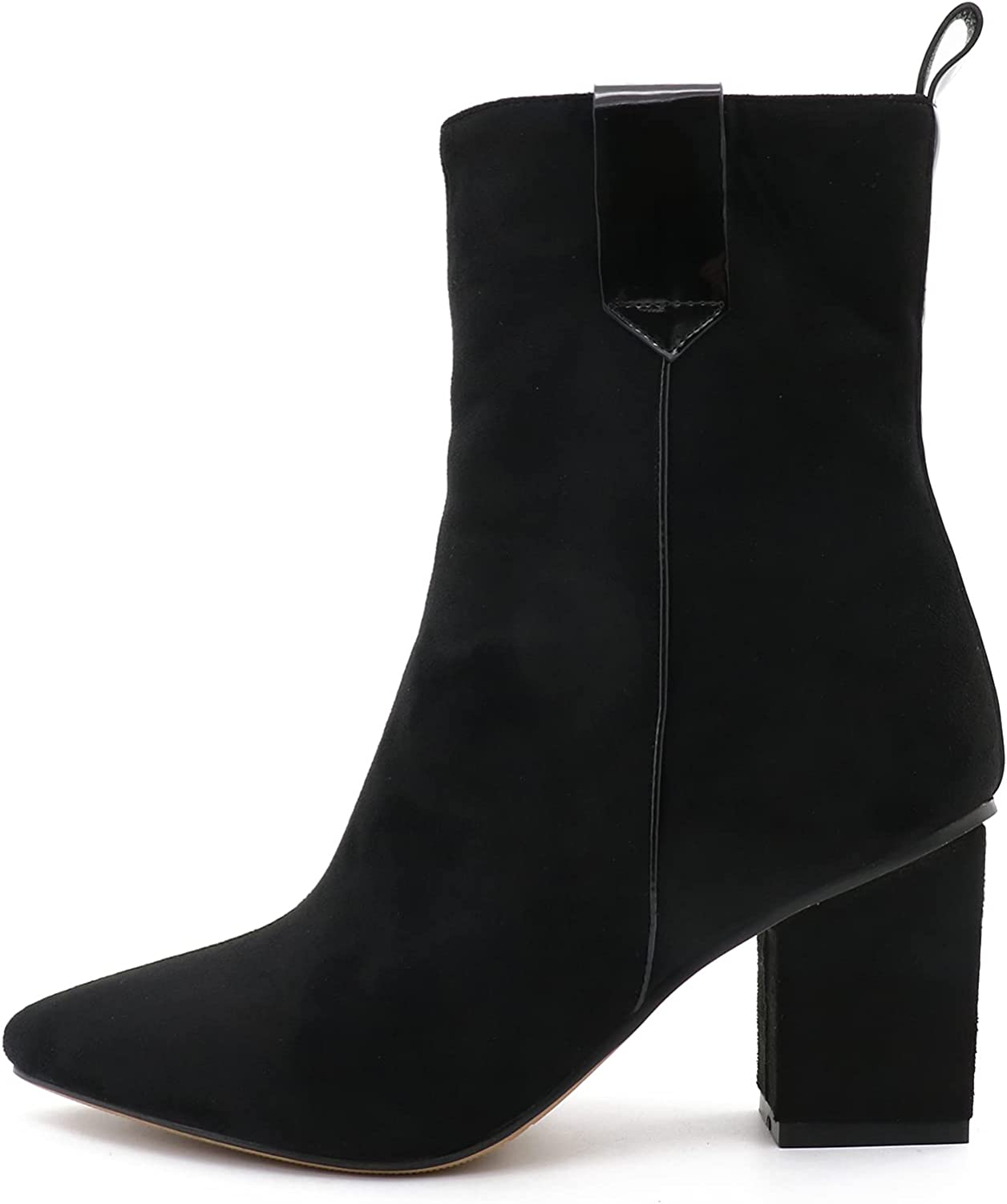 COLETER Women's Suede Ankle Boots,Square Chunky Mid Block Heel Pointed Toe Autumn Warm Mid Calf Boots
