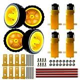 DC 3V-12V TT Dual Shaft Gear Motor 1:48 with Tire Wheel Kit for UNO 4WD Arduino Robot Smart Car Eletronic DIY Toys, 4X TT Motor,4X Tire Wheel