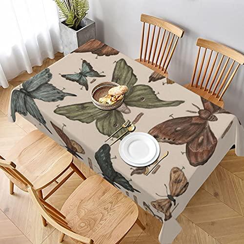 Mantel largo de 152 x 228 cm, diseño de mariposas y polillas para el hogar, cocina, comedor, picnic, banquetes y decoración de fiestas