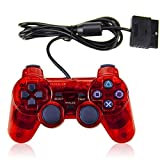 PS2 Wired Controller, Double Shock Dual Vibration Twin Shock Gamepad for Sony Playstation 2, Red