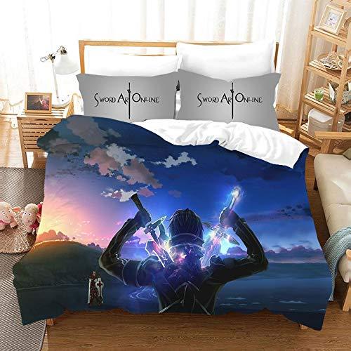 Ksainiy 3 piezas de la funda nórdica, animado Sword Art Online de ropa de cama, ropa de cama 3D impreso historieta, de los niños animado funda nórdica y funda de almohada, incluyendo 1 funda de edredó