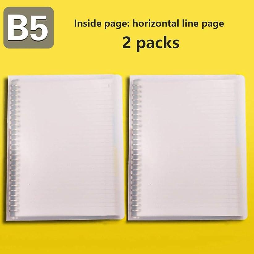2パックB5ルーズリーフブックリムーバブルノートブックストレートラインノートパッド26ホールコイルペーパーリフィルシェルクリップリング Miyabitors (Color : C)