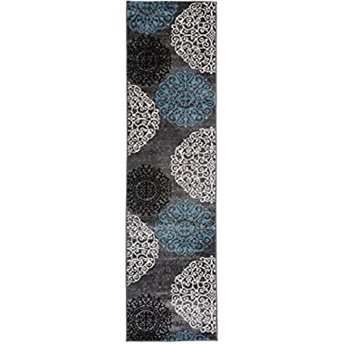 Contemporary Modern Floral Indoor Soft Runner Rug 2' x 7'2  Gray