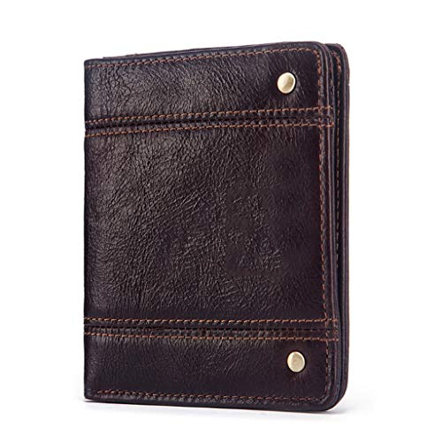 KATUEF Vertical Genuine Leather Men's Wallet, Retro Casual Business Ultra-Thin Simple Multifunctional Card/Document Box, Brown, 10.5×9×1.5cm