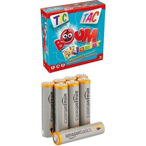 Asmodee - TTBJ01 - Tic Tac Boum Junior - Jeu Enfants & Amazon Basics Lot de 8 piles alcalines Type AAA 1,5 V 1340 mAh (design variable)