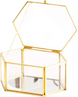 Golden Vintage Jewelry Glass Box Faceted Hexagonal Clear Glass & Brass-Tone Metal Hinged Top Lid Tabletop Display Case Terrarium Box