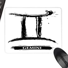 Zodiac Gemini Extra Large Mouse Pad Grunge and Artistic Brushstroke Design Horoscope Icon Astrology Symbol with Stitched Edges 35.4