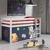 Cama infantil elevada de 90 x 200 cm en pino blanco con una tienda de juego...