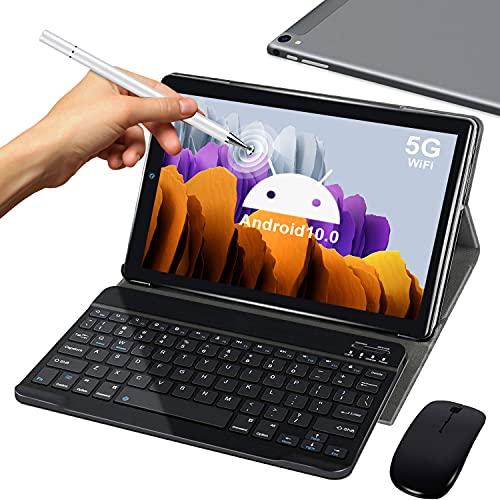 5G Tablet 10 Pollici con Wifi Offerte 4GB RAM 64GB 128GB Espandibili Android 10.0 Certificato Google GMS 1.6Ghz Tablet PC 6000mAh Bluetooth GPS Tablet Dual WiFi Versione con Tastiera e Mouse,Argento