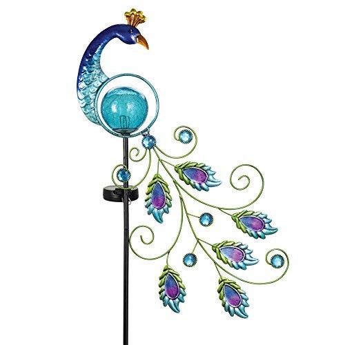 Bits and Pieces - Wunderschöner solarbetriebener Pfauen-Gartenstecker – schöne Gartendekoration – eleganter Metall- und Glas-Solarstab erzeugt atemberaubendes Leuchten den ganzen Abend