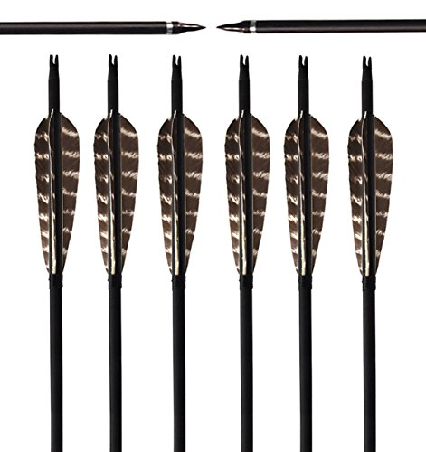 ARCHERY SHARLY 31Inch Carbon Targeting Practice Arrows Turkey Feather Fletching Arrows with Removable Tips for Recurve Traditional Long Bow (6 Pack)
