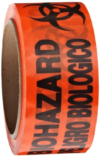 Roll Products 142-0006 PVC Film Biohazard Warning Tape with Black Imprint, Legend 'Biohazard - Peligro Biologico' (with Logo), 55 yd. Length x 2' Width, 3' Diameter Core Roll, for Identifying and Marking, Fluorescent Red/Orange
