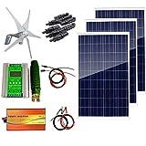 AUECOOR Kit de système hybride 12 V 700 W : générateur de turbine éolienne 400 W & 3 panneaux solaires 100 W + onduleur pure onde 1000 W (pic 2000 W) + accessoires pour usage domestique