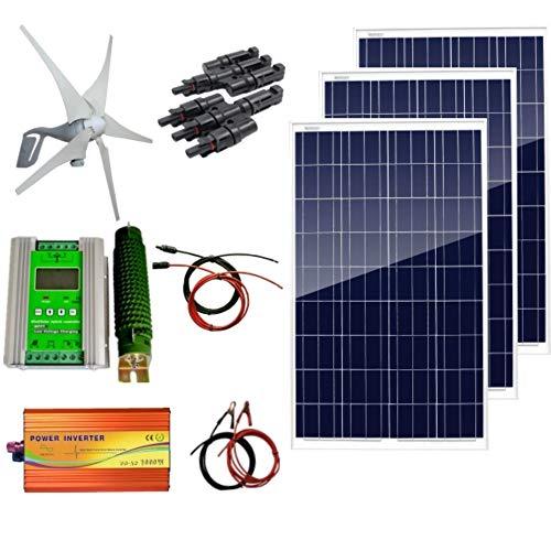 Kit híbrido de sistema AUECOOR 12 V 700 W: generador de turbina de viento de 400 W y 3 paneles solares de 100 W + inversor de onda puro de 1000 W (pico de 2000 W) + accesorios para uso doméstico